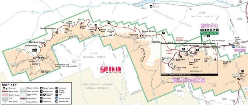 《布莱斯国家公园的地图》