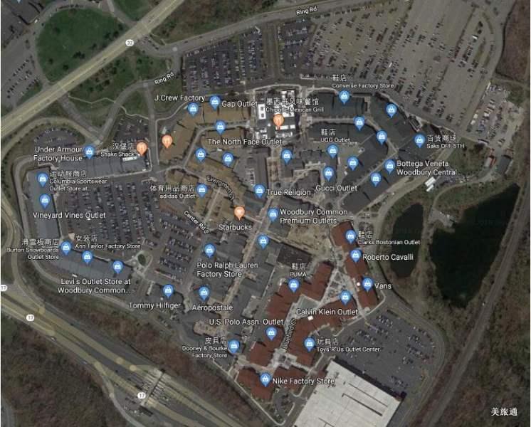 《纽约Woodbury奥特莱斯的品牌与地图》