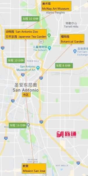 《圣安东尼奥景点地图》