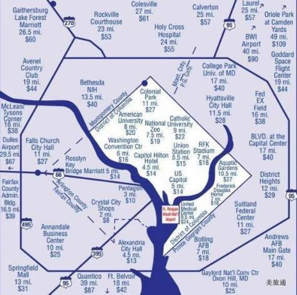 《Q. 华盛顿里根国家机场到市区的方法?》