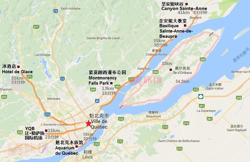 《魁北克景点地图》