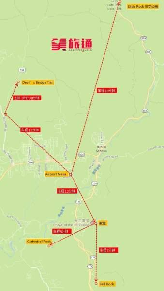 《赛多纳主要景点地图》