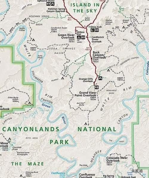 《峡谷地国家公园的地图》