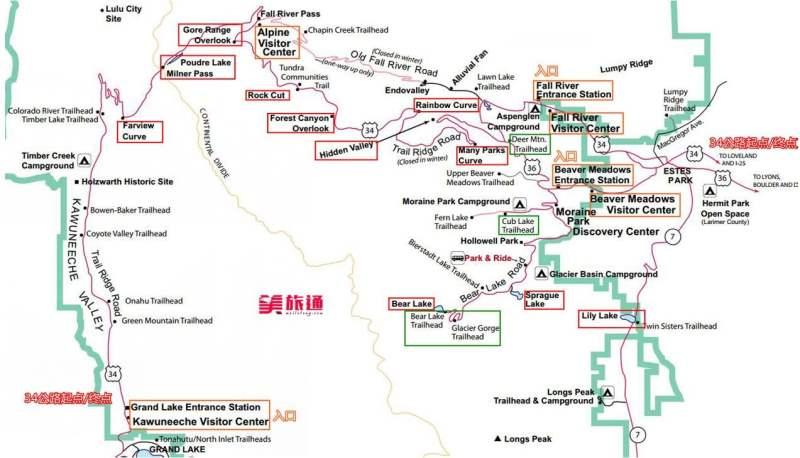 《洛基山国家公园的地图》