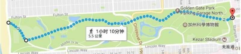 《驾车/步行横穿金门公园需要多久?》