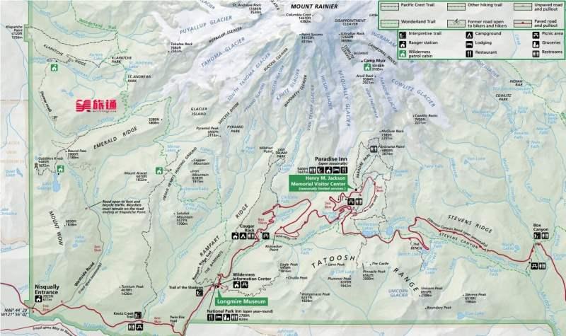 《雷尼尔山地图与行程》