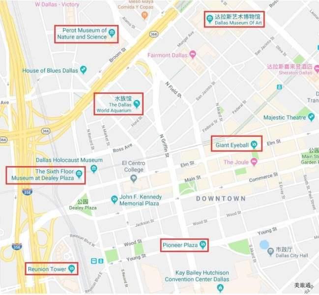 《达拉斯交通和景点地图》