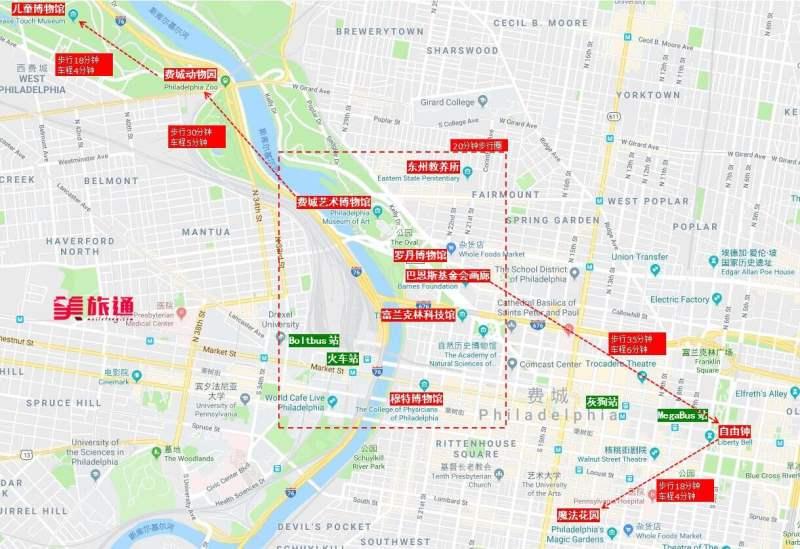 《费城的景点分布地图》