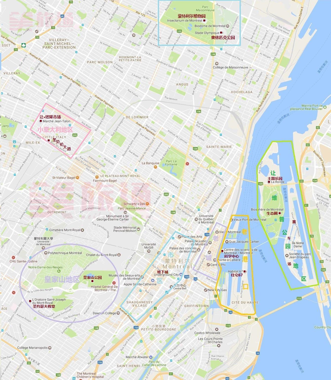 《蒙特利尔景点地图》