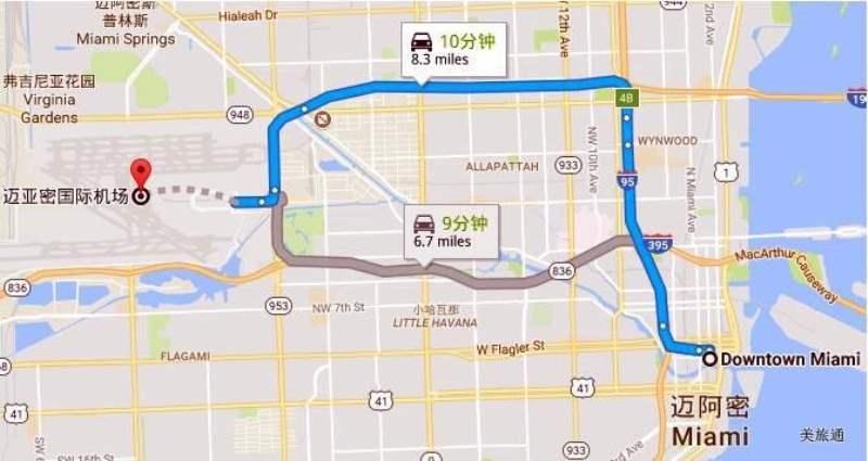 《迈阿密国际机场去市区的方法》