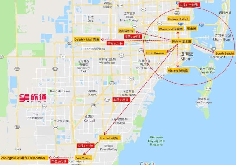 《迈阿密的景点地图》