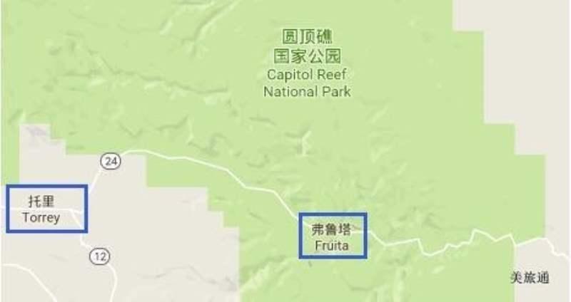 《圆顶礁国家公园的地图》