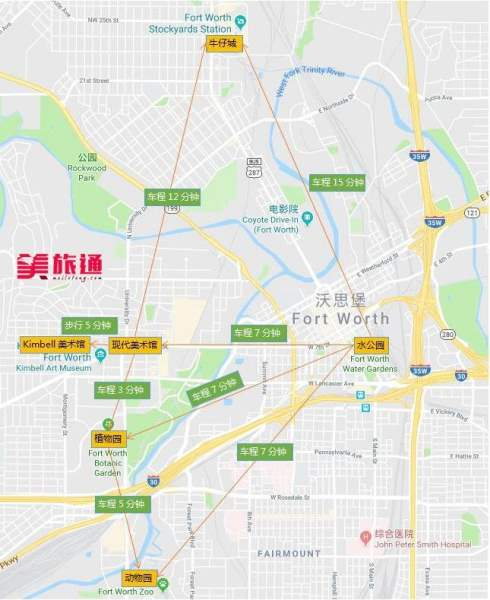 沃斯堡交通和地图
