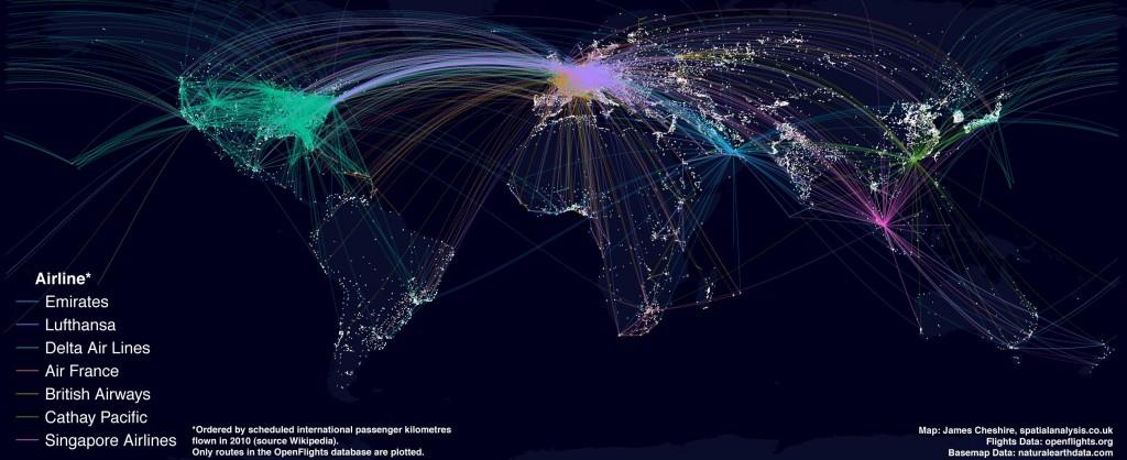 《美国-中国直飞航班统计表》